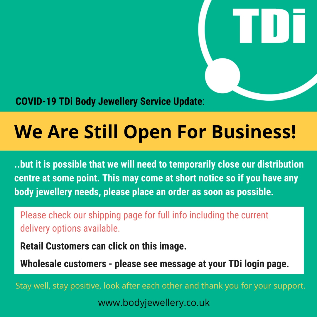 COVID-19 TDi Body Jewellery Service Update